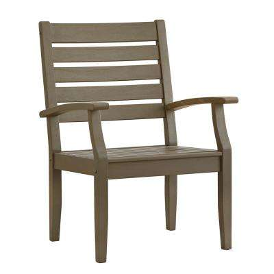 Verdon Gorge Gray Oiled Wood Modern Outdoor Dining Arm Chair (Set of 2)