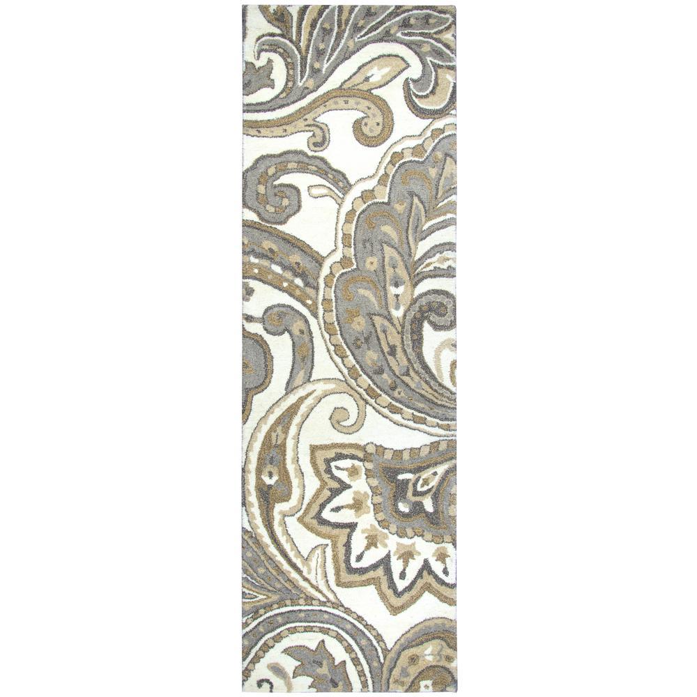 Makalu Ivory/Gray 2 ft. 6 in. x 8 ft. Floral Runner Rug