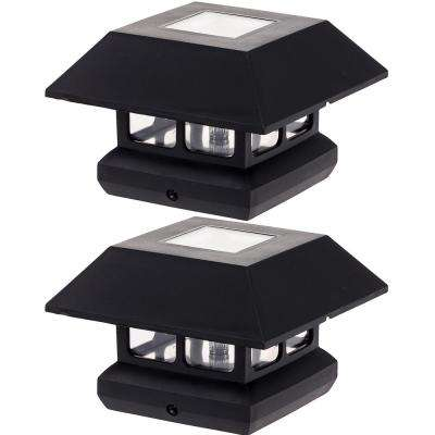 4 in. x 4 in. Solar Powered Integrated LED Black Post Cap Light for Nominal Wood Posts (2-Pack)