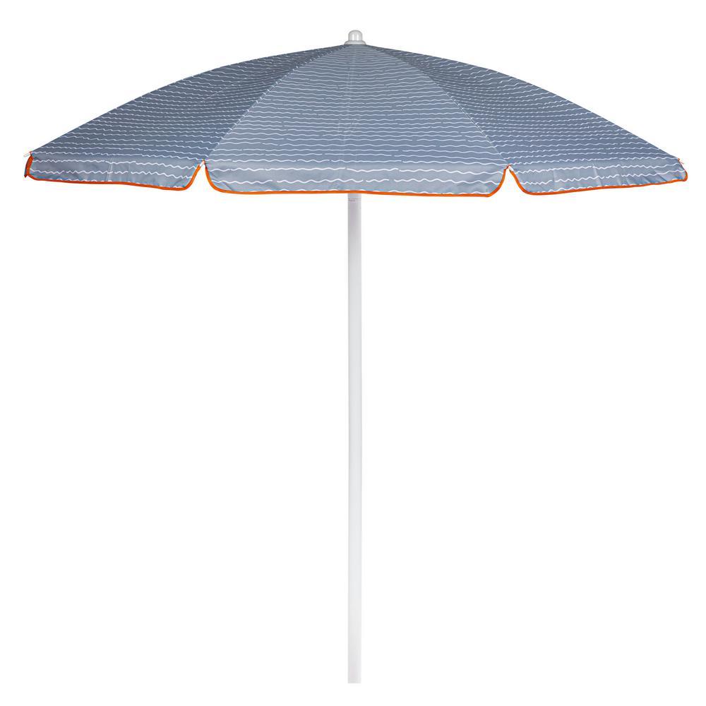 5.5 ft. Portable Beach Umbrella in Wave Break Gray Pattern