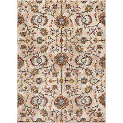 Mystic Beatrix Modern Bohemian Vintage Floral Blush 7 ft. 10 in. x 9 ft. 10 in. Area Rug