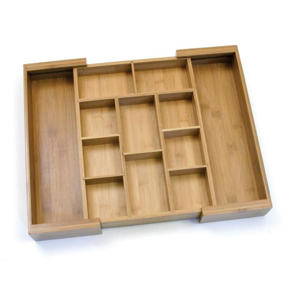 Lipper International 11-18.75 in. Bamboo Expandable Adjustable Drawer Organizer 8882