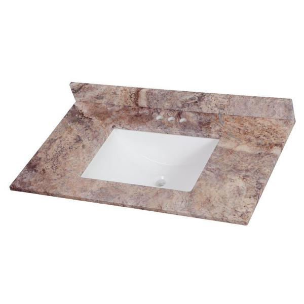 37 in. W x 22 in. D Stone Effects Vanity Top in Cold Fusion with White Sink