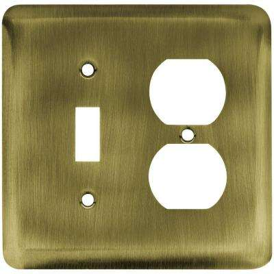 Stamped Round Decorative Switch and Duplex Outlet Cover, Antique Brass