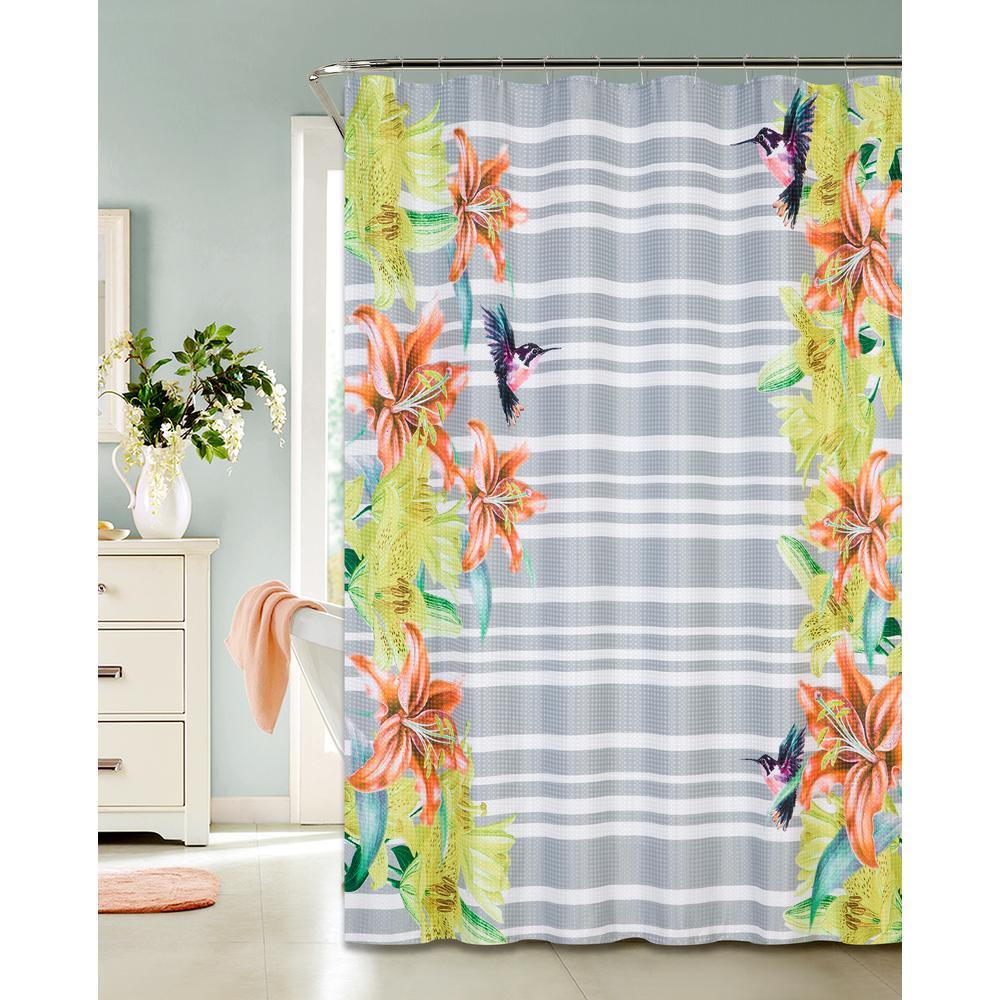Dainty Home Waffle Shower Curtain Gummingbird Design (13 Piece)