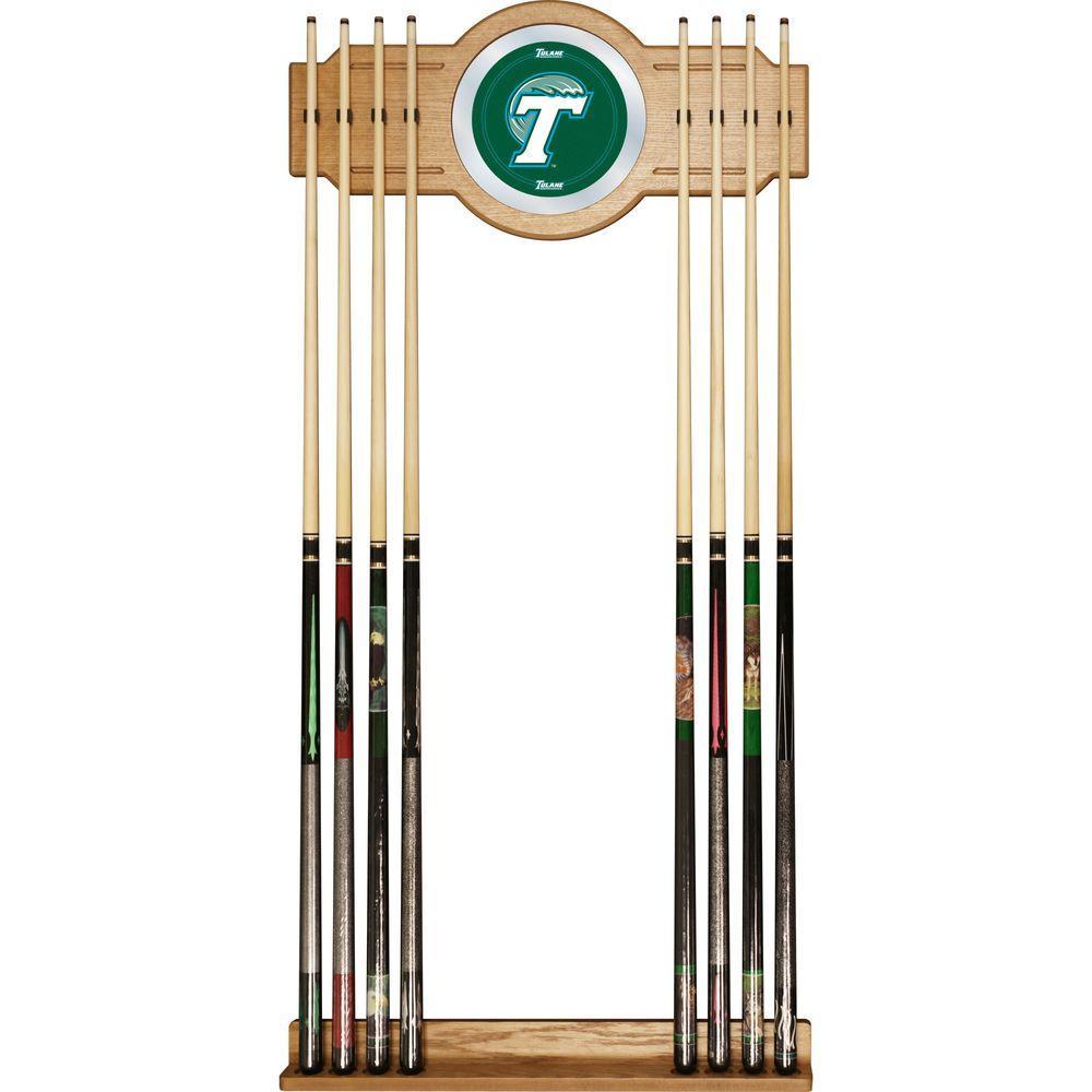 Tulane University 30 in. Wooden Billiard Cue Rack with Mirror