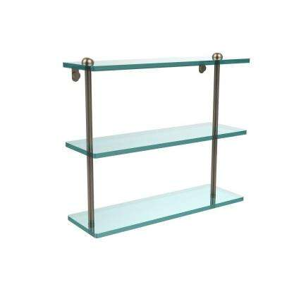 16 in. L x 15 in. H x 5 in. W 3-Tier Clear Glass Bathroom Shelf in Antique Pewter