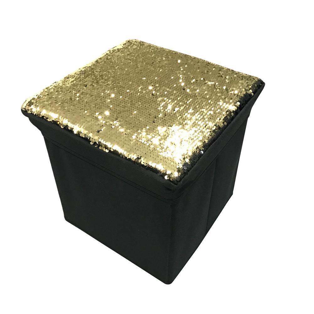 Gold/Black Sequin Ottoman