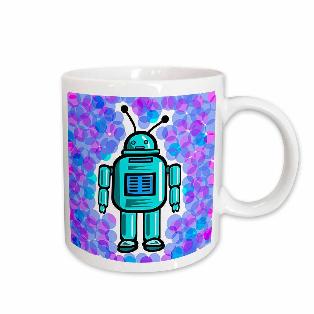 Kids Stuff 11 oz. White Ceramic Robot Mug