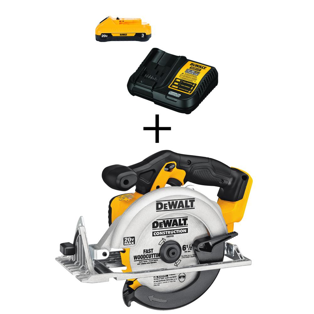 DEWALT 20-Volt MAX Lithium-Ion Cordless 6-1/2 in. Circular Saw (Tool-Only) with Free 20-Volt MAX Battery 3.0Ah & Charger was $218.0 now $129.0 (41.0% off)