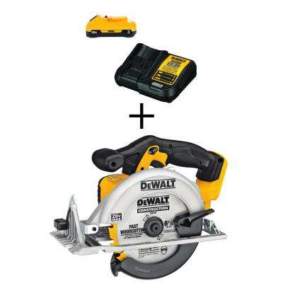 20-Volt MAX Lithium-Ion Cordless 6-1/2 in. Circular Saw (Tool-Only) with Bonus Battery Pack 3.0Ah and Charger