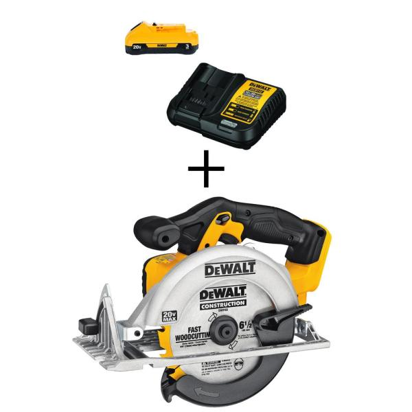 DEWALT 20-Volt MAX Lithium-Ion Cordless 6-1/2 in. Circular Saw (Tool-Only) with Free 20-Volt MAX Battery 3.0Ah & Charger