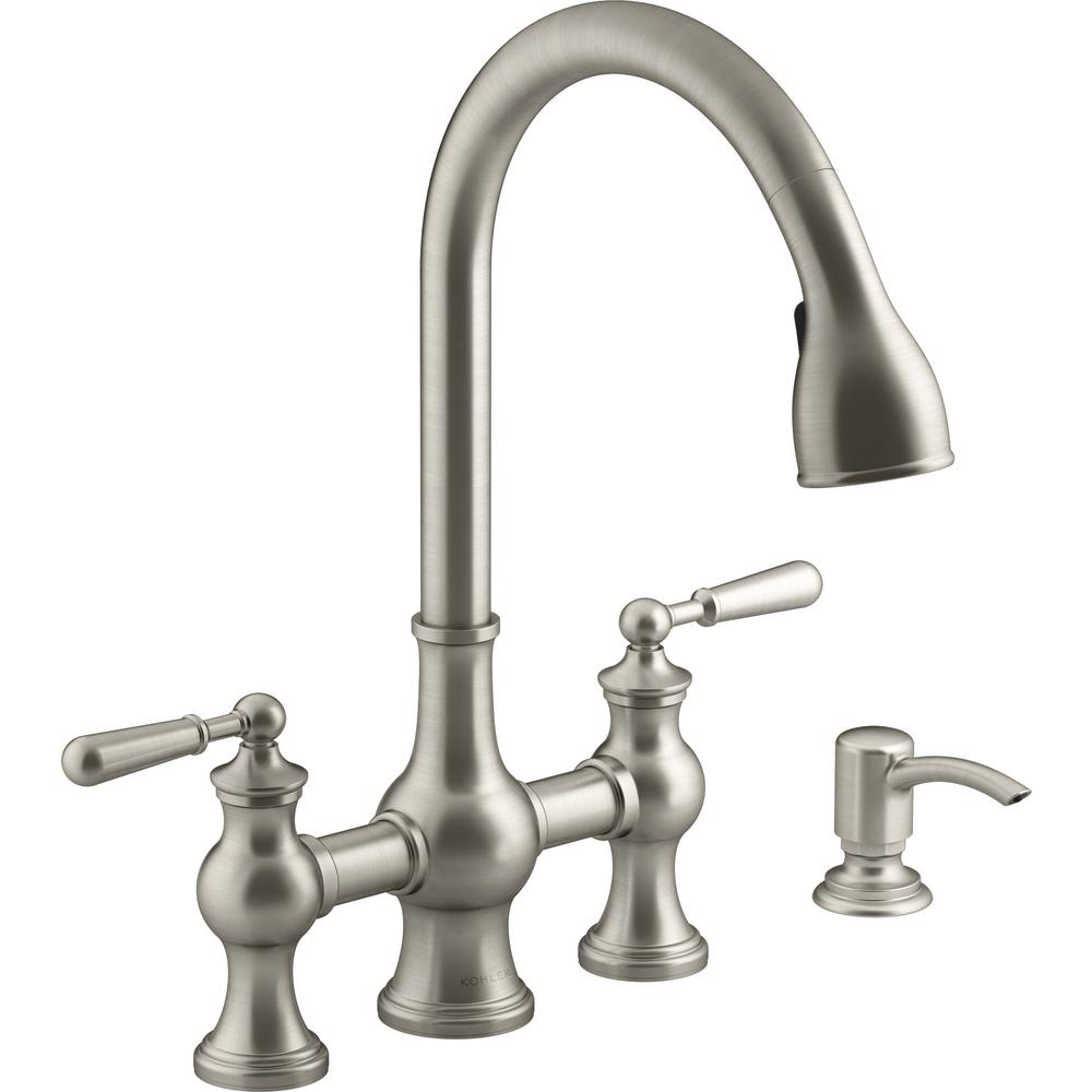 KOHLER Capilano 2-Handle Bridge Farmhouse Pull-Down Kitchen Faucet with  Soap Dispenser and Sweep Spray in Vibrant Stainless