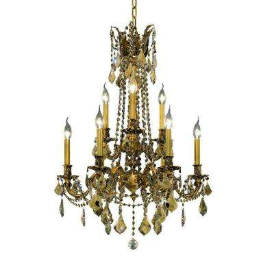 9-Light French Gold Chandelier with Golden Teak Smoky Crystal