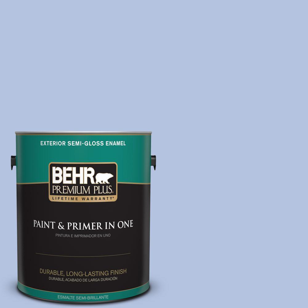 1-gal. #600C-3 Periwinkle Bud Semi-Gloss Enamel Exterior Paint