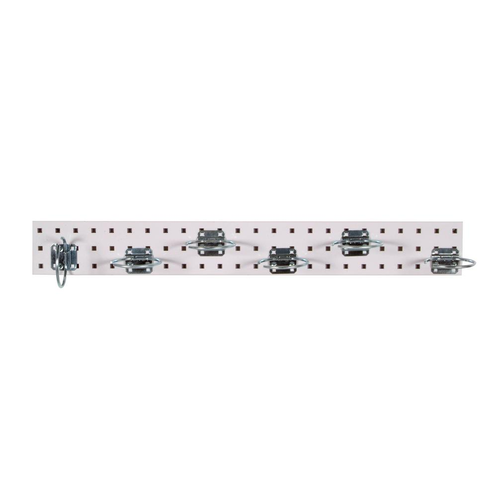 LocBoard 3/8 in. White Pegboard Wall Organizer Strip with Assortment