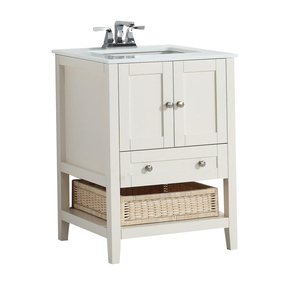 simpli home cape cod 24 in vanity in soft white with quartz marble vanity top in white 4axcvccw. Black Bedroom Furniture Sets. Home Design Ideas