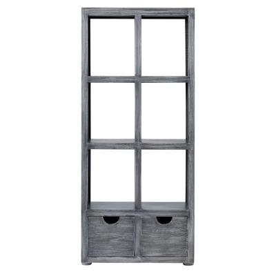 77 in. Brushed Gray Metal 6-shelf Accent Bookcase with Open Back