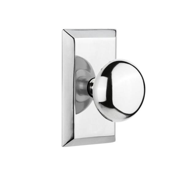 Nostalgic Warehouse Studio Plate 2 3 8 In Backset Bright Chrome Passage Hall Closet New York Door Knob 713237 The Home Depot