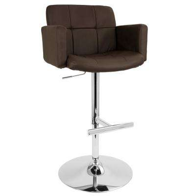 Stout Chrome and Brown Faux Leather Adjustable Height Bar Stool