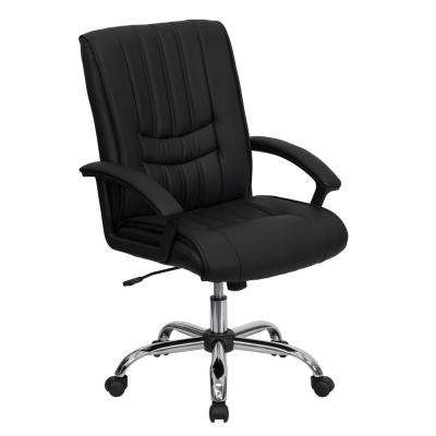 Mid-Back Black Leather Swivel Manager's Chair