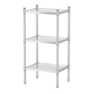 14.25 in. W x 28.25 in. H 3-Tier Rectangle Taboret in Satin Nickel