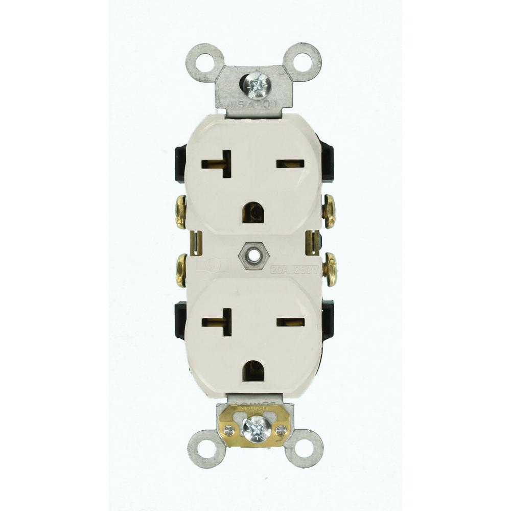 Leviton 20 Amp Commercial Grade Self Grounding Duplex Outlet  White-5822-w