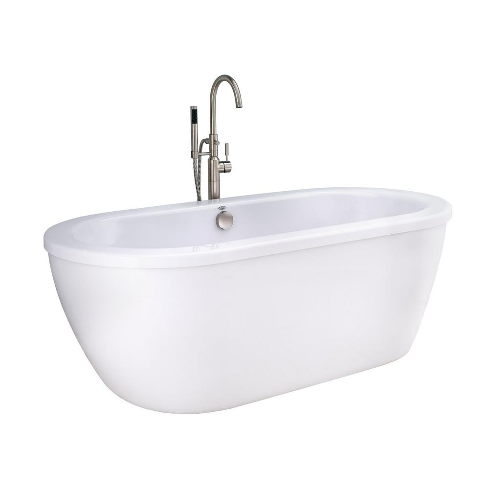 Cadet 5.5 ft. Acrylic Flatbottom Freestanding Bathtub in Artic White with