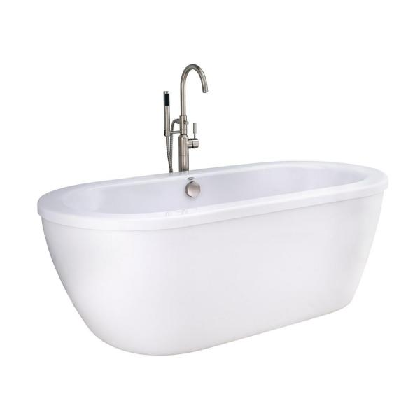 Cadet 5.5 ft. Acrylic Flatbottom Freestanding Bathtub in Artic White with Brushed Nickel Drain and Filler