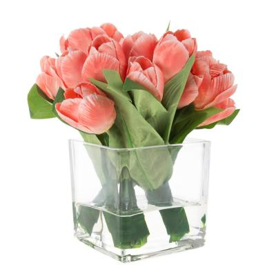 Tulip Floral Arrangement with Vase and Faux Water