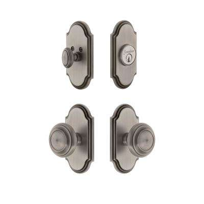 Arc Plate 2-3/8 in. Backset Antique Pewter Circulaire Door Knob with Single Cylinder Deadbolt