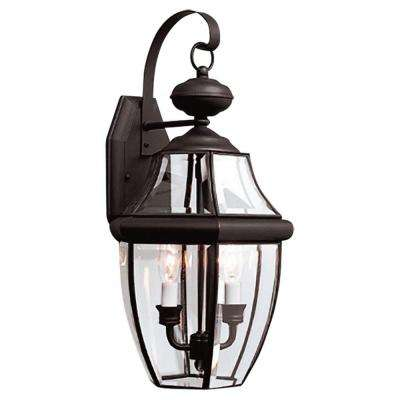 Lancaster 10 in. W 2-Light Black Outdoor Wall Mount Lantern with Clear Beveled Glass
