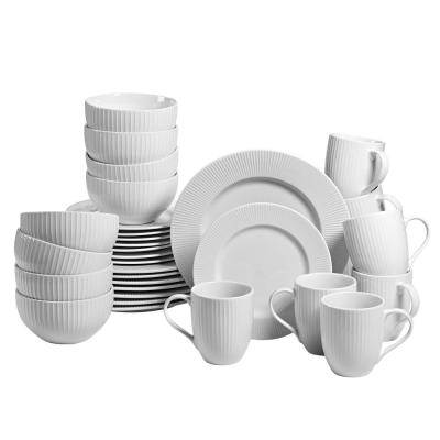 Chester 32-Piece Casual White Porcelain Dinnerware Set (Service for 8)