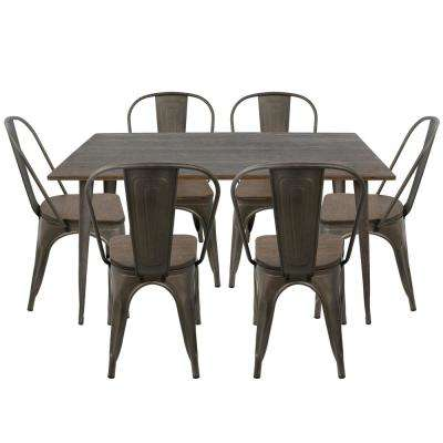 Oregon 7-Piece Antique and Espresso Dining Set