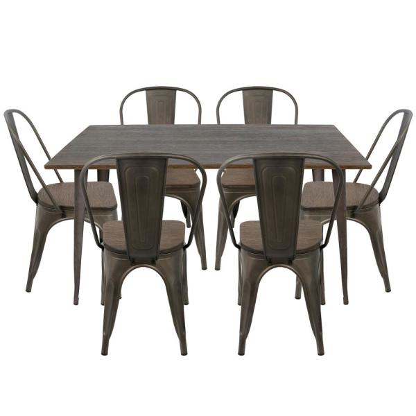 Lumisource Oregon 7-Piece Antique and Espresso Dining Set