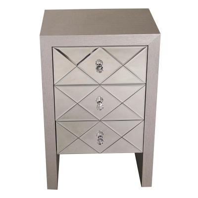 Shelly Assembled 17.7 in. x 17.7 in. x 13 in. Silver Wood Raised Accent Storage Cabinet with 3 Mirrored Glass Drawers