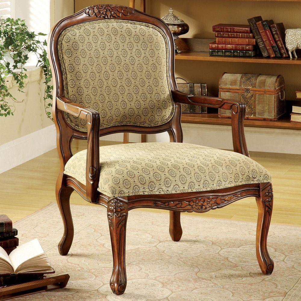 Quintus antique oak fabric arm chair cm ac6919 the home depot Living room benches with arms