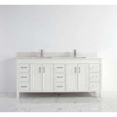 Dawlish 75 in. Vanity in White with Solid Surface Marble Vanity Top in White