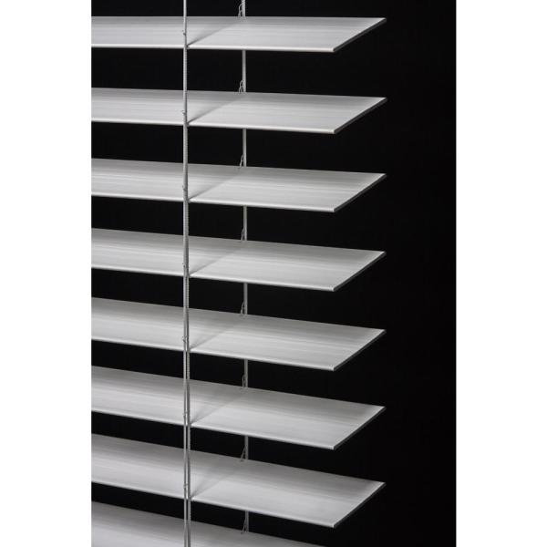 Home Decorators Collection Cut To Size White Cordless Room Darkening Premium Faux Wood Blind With 2 1 2 In Slats 35 In W X 64 In L 10793478361892 The Home Depot