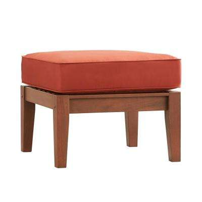 Verdon Gorge Brown Oiled Wood Outdoor Ottoman with Red Cushion