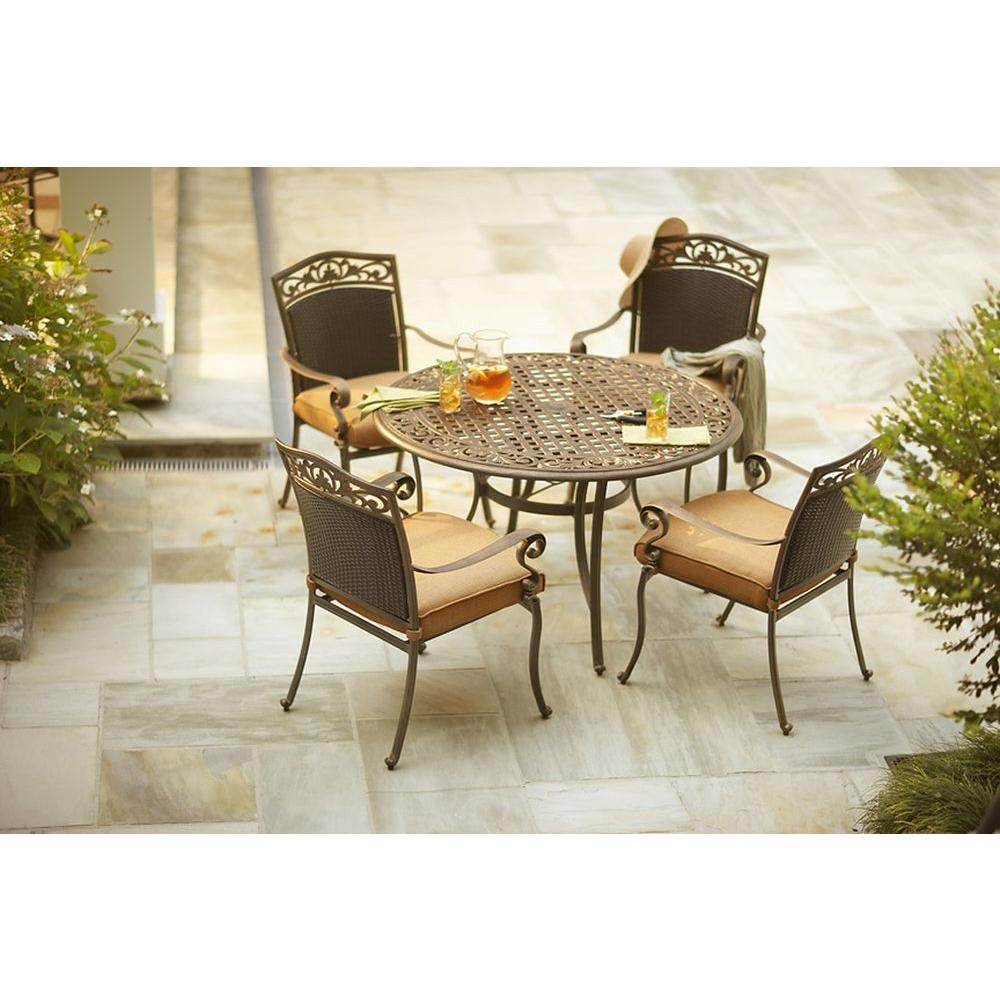 Martha Stewart Living Miramar II 5-Piece Patio Dining Set with Tan Cushions