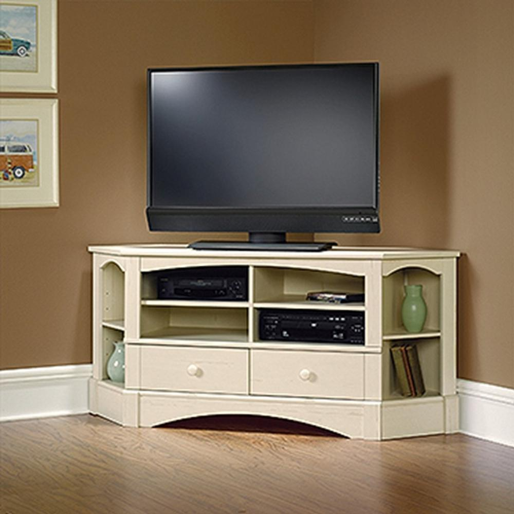 Corner Tv Stand For 65 Inch Tv Sauder Harbor View Antiqued White Entertainment Center 402905