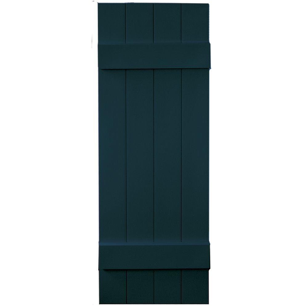 Builders Edge 14 in. x 43 in. Board-N-Batten Shutters Pair, 4 Boards Joined #166 Midnight Blue