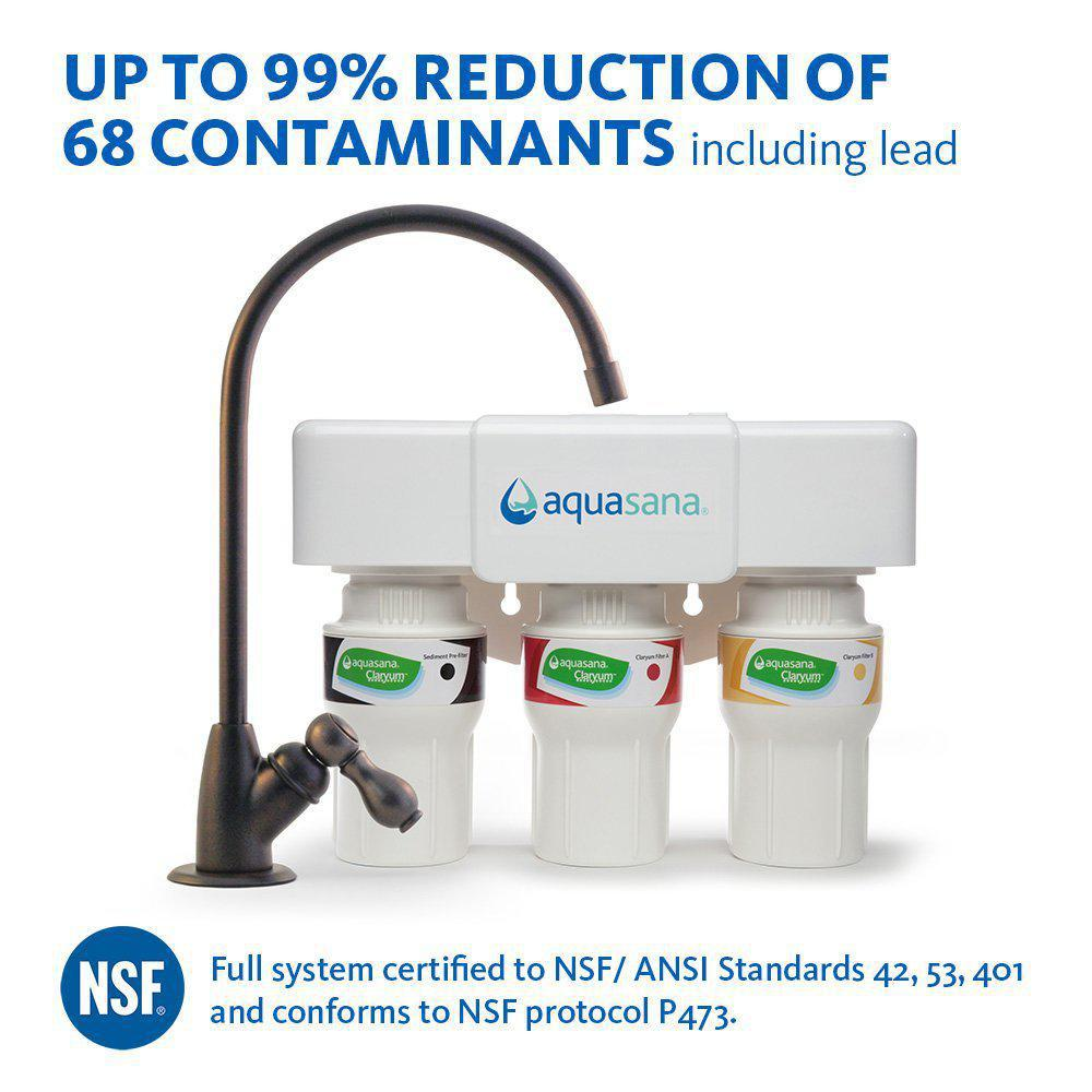 Aquasana 3-Stage Under Counter Water Filtration System with Faucet in Oil Rubbed Bronze, Oil Robbed Bronze was $199.99 now $129.99 (35.0% off)