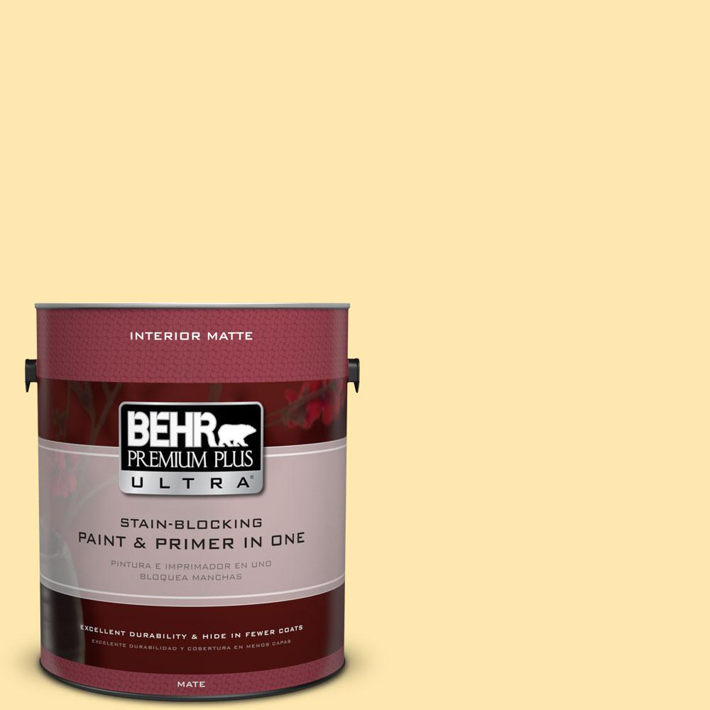 BEHR Premium Plus Ultra 1 gal. #350B-4 Lemon Souffle Flat/Matte Interior Paint