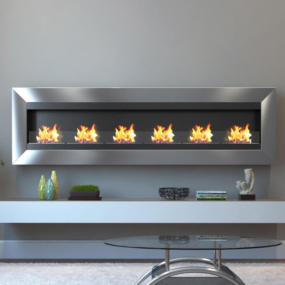 Moda Flame Verrazano Wall Mounted Ethanol Fireplace in Stainless Steel creates a focal point of distinction in your living room and bedroom.