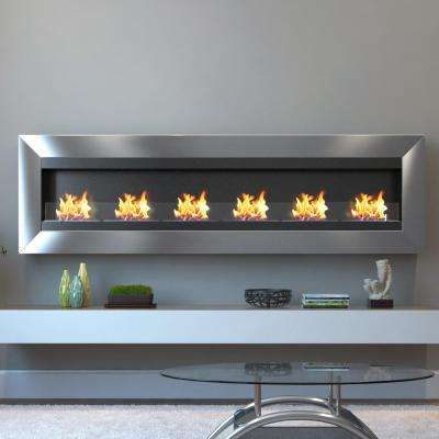 Verrazano 82 in. Wall Mounted Ethanol Fireplace in Stainless Steel