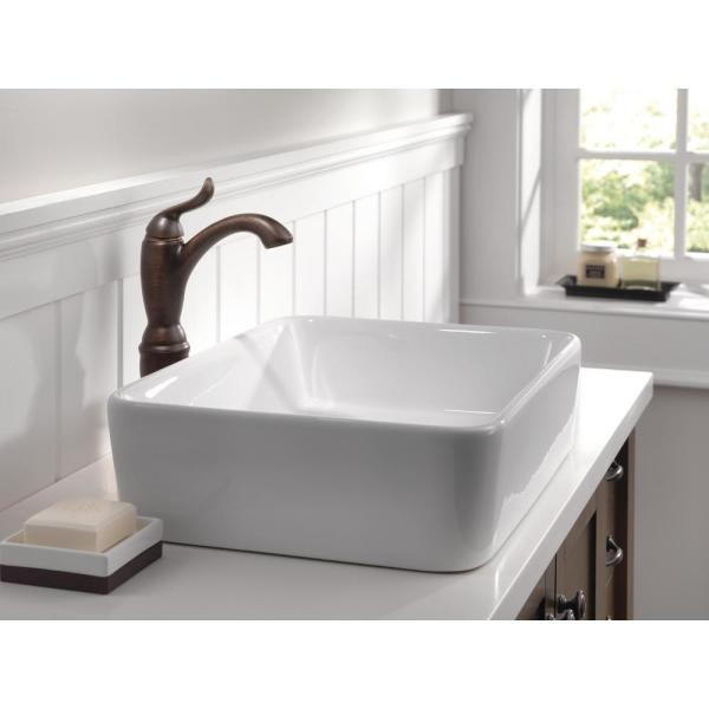 Delta Faucet Linden Single-Handle Vessel Bathroom Faucet with Diamond Seal Technology Venetian Bronze 794-RB-DST