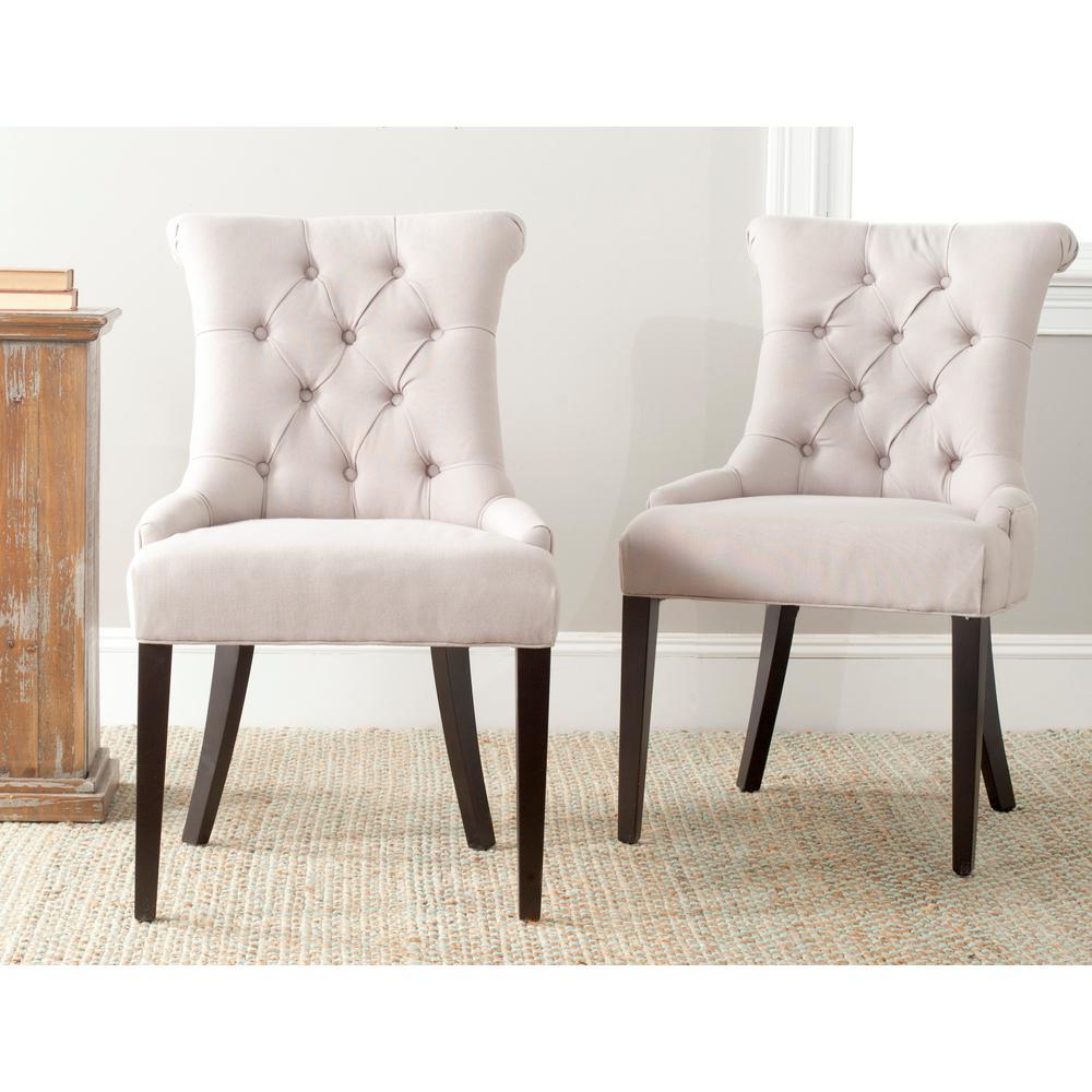 Safavieh Summerset Beige 19 in. H Linen Side Chair (Set of ...