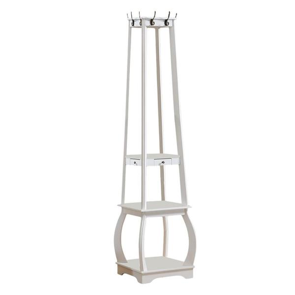 Kings Brand Furniture White Wood Hall Tree with 8-Hooks and Shelves